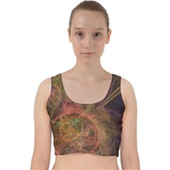 Abstract Colorful Art Design Velvet Racer Back Crop Top