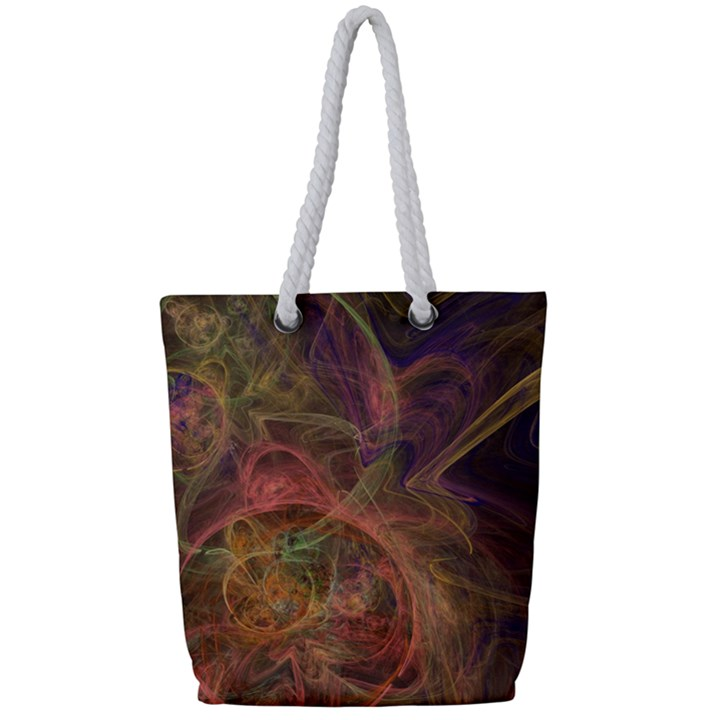Abstract Colorful Art Design Full Print Rope Handle Tote (Small)