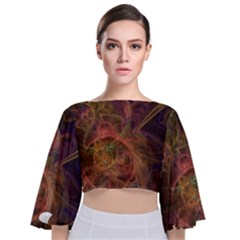 Abstract Colorful Art Design Tie Back Butterfly Sleeve Chiffon Top