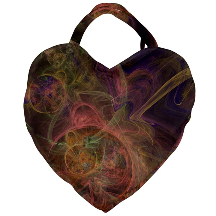 Abstract Colorful Art Design Giant Heart Shaped Tote