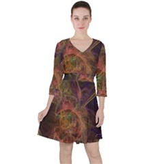 Abstract Colorful Art Design Ruffle Dress