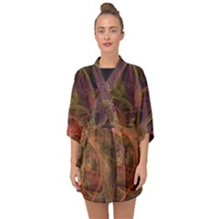 Abstract Colorful Art Design Half Sleeve Chiffon Kimono
