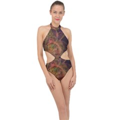 Abstract Colorful Art Design Halter Side Cut Swimsuit