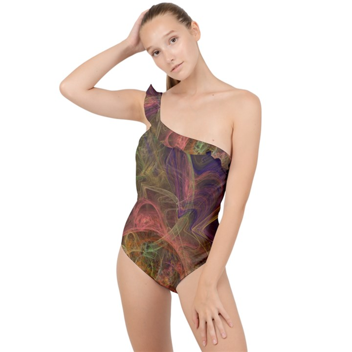 Abstract Colorful Art Design Frilly One Shoulder Swimsuit