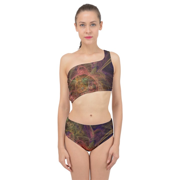 Abstract Colorful Art Design Spliced Up Two Piece Swimsuit