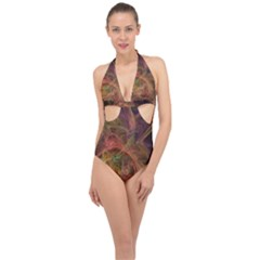 Abstract Colorful Art Design Halter Front Plunge Swimsuit
