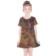 Abstract Colorful Art Design Kids  Simple Cotton Dress