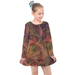 Abstract Colorful Art Design Kids  Long Sleeve Dress