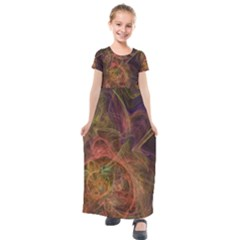Abstract Colorful Art Design Kids  Short Sleeve Maxi Dress