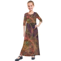 Abstract Colorful Art Design Kids  Quarter Sleeve Maxi Dress