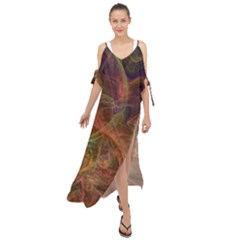 Abstract Colorful Art Design Maxi Chiffon Cover Up Dress