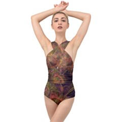Abstract Colorful Art Design Cross Front Low Back Swimsuit by Nexatart