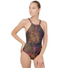 Abstract Colorful Art Design High Neck One Piece Swimsuit