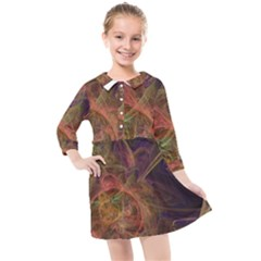 Abstract Colorful Art Design Kids  Quarter Sleeve Shirt Dress