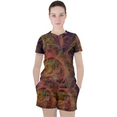 Abstract Colorful Art Design Women s Tee And Shorts Set
