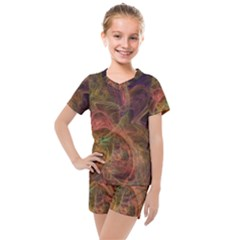 Abstract Colorful Art Design Kids  Mesh Tee And Shorts Set