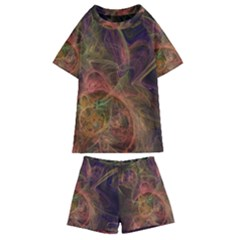 Abstract Colorful Art Design Kids  Swim Tee And Shorts Set