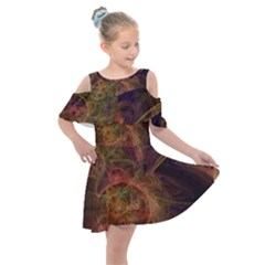 Abstract Colorful Art Design Kids  Shoulder Cutout Chiffon Dress