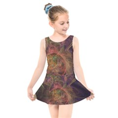 Abstract Colorful Art Design Kids  Skater Dress Swimsuit