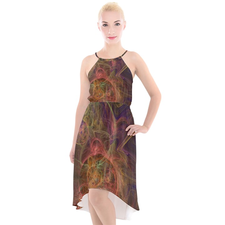 Abstract Colorful Art Design High-Low Halter Chiffon Dress