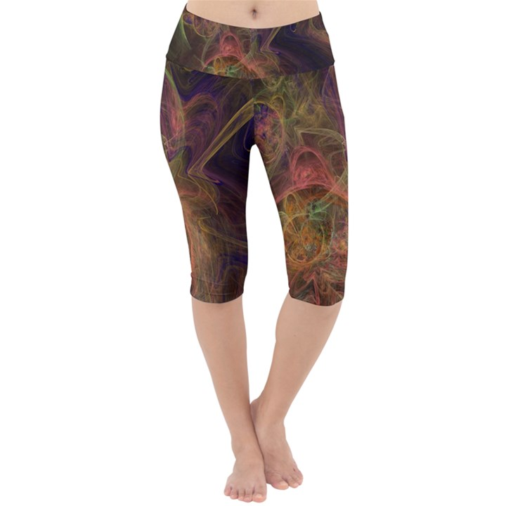 Abstract Colorful Art Design Lightweight Velour Cropped Yoga Leggings