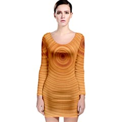 Rings Wood Line Long Sleeve Bodycon Dress