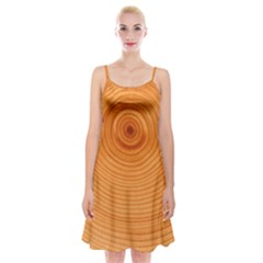 Rings Wood Line Spaghetti Strap Velvet Dress