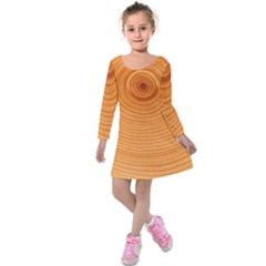 Rings Wood Line Kids  Long Sleeve Velvet Dress