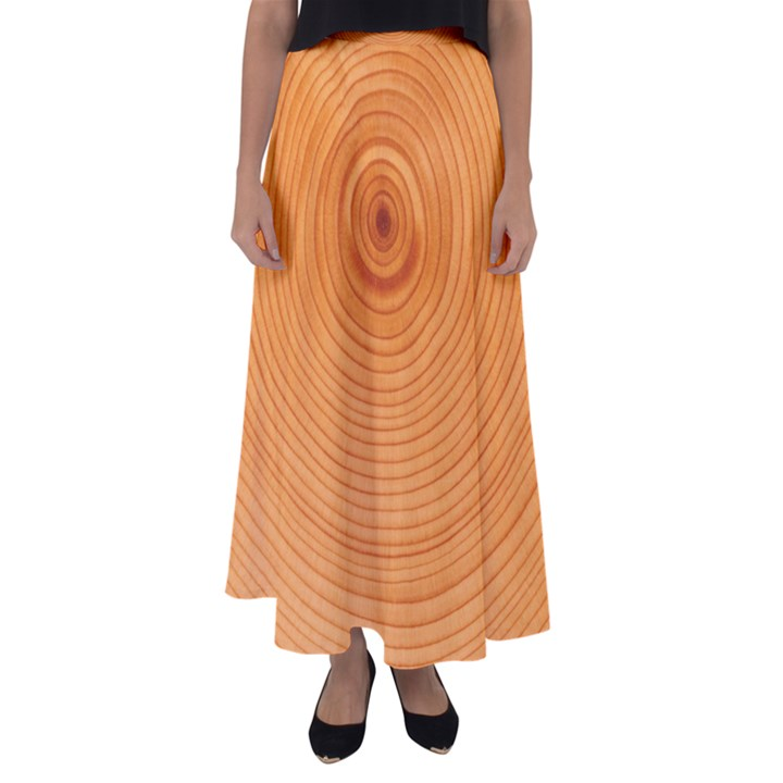 Rings Wood Line Flared Maxi Skirt