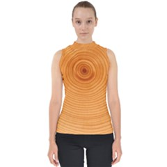Rings Wood Line Mock Neck Shell Top