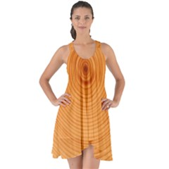 Rings Wood Line Show Some Back Chiffon Dress