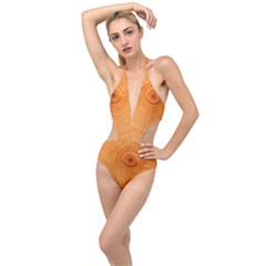 Rings Wood Line Plunging Cut Out Swimsuit