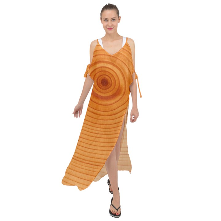 Rings Wood Line Maxi Chiffon Cover Up Dress