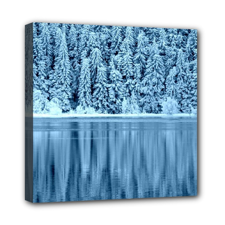 Snowy Forest Reflection Lake Mini Canvas 8  x 8  (Stretched)