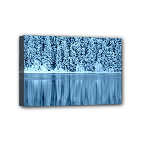 Snowy Forest Reflection Lake Mini Canvas 6  X 4  (stretched)