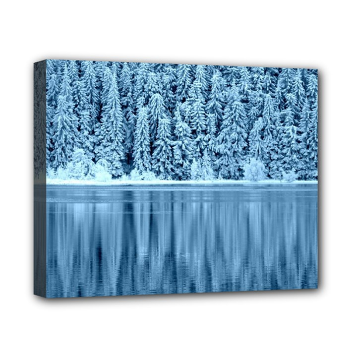 Snowy Forest Reflection Lake Canvas 10  x 8  (Stretched)