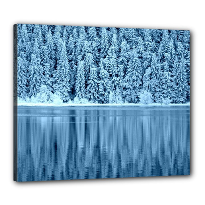 Snowy Forest Reflection Lake Canvas 24  x 20  (Stretched)
