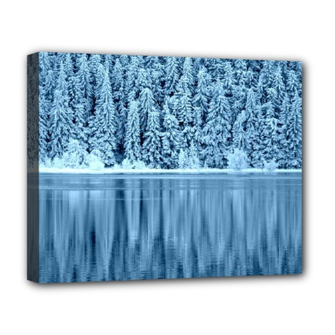 Snowy Forest Reflection Lake Deluxe Canvas 20  X 16  (stretched)