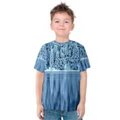 Snowy Forest Reflection Lake Kids  Cotton Tee