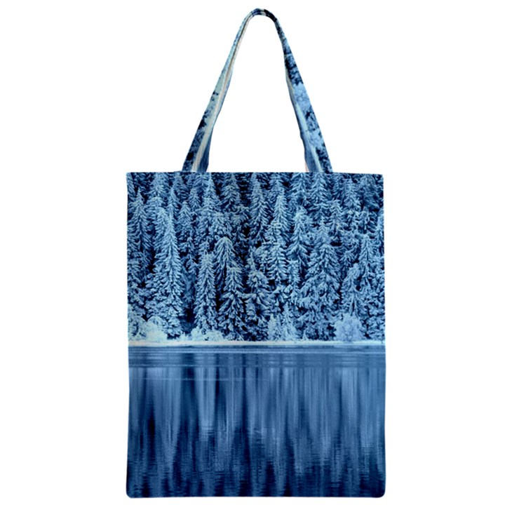 Snowy Forest Reflection Lake Zipper Classic Tote Bag