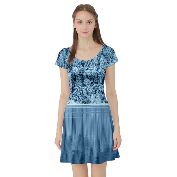 Snowy Forest Reflection Lake Short Sleeve Skater Dress