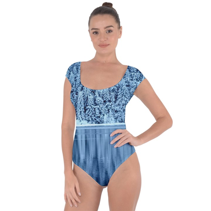 Snowy Forest Reflection Lake Short Sleeve Leotard
