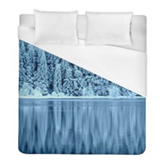 Snowy Forest Reflection Lake Duvet Cover (full/ Double Size) by Alisyart