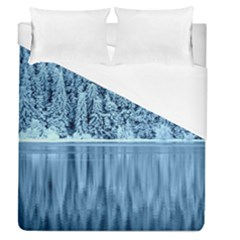 Snowy Forest Reflection Lake Duvet Cover (queen Size) by Alisyart