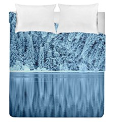 Snowy Forest Reflection Lake Duvet Cover Double Side (queen Size) by Alisyart