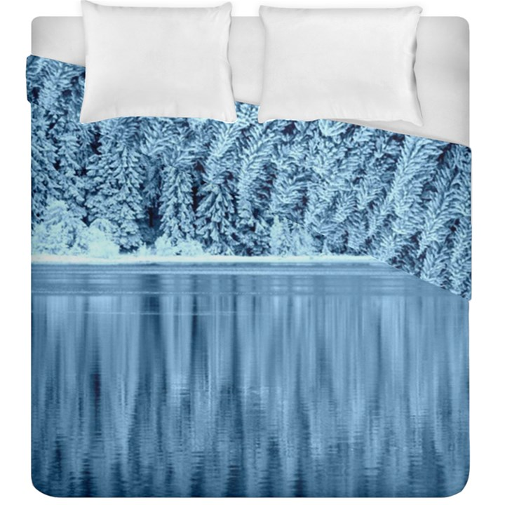 Snowy Forest Reflection Lake Duvet Cover Double Side (King Size)