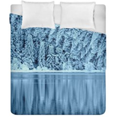 Snowy Forest Reflection Lake Duvet Cover Double Side (california King Size)