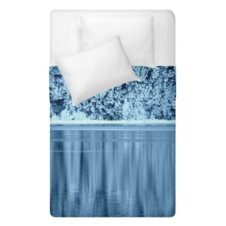 Snowy Forest Reflection Lake Duvet Cover Double Side (Single Size)