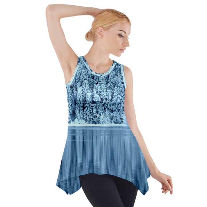 Snowy Forest Reflection Lake Side Drop Tank Tunic