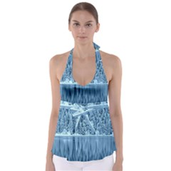 Snowy Forest Reflection Lake Babydoll Tankini Top